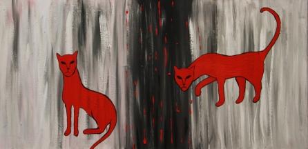 Rote Katzen auf Grau