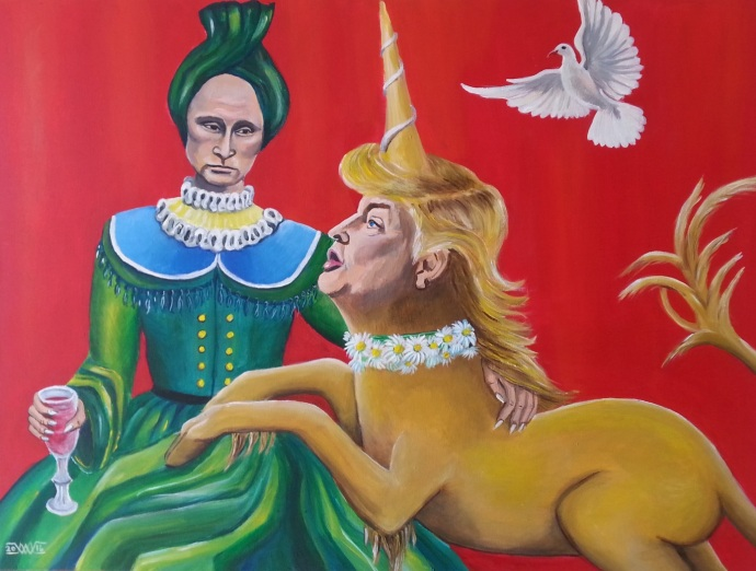 Donald Trump,Vladimir Putin, political paintings